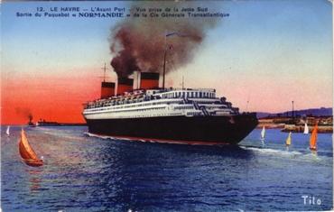 S.S NORMANDIE - Carte postale classique couleurs TITO - BLOC FRERES - Réf. TITOCOC 12-12 Recto