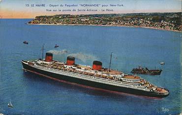 S.S NORMANDIE - Carte postale classique couleurs TITO - BLOC FRERES - Réf. TITOCOC 13-15