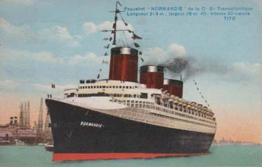 PAQUEBOT S.S NORMANDIE - Carte postale classique couleurs Editeur TITO Réf. TITOCOC 2-2 J-S