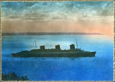 PAQUEBOT NORMANDIE - Carte postale Grand Format Couleurs TITO 2-1