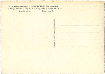 Paquebot S/S NORMANDIE - Carte postale Grand Format Glacée Noir et Blanc - Editeur : TITO - BLOC - Réf. Site : TITOGFG 10-14 PSB
