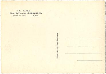 Paquebot S/S NORMANDIE - Carte postale Grand Format Glacée Noir et Blanc - Editeur : TITO - BLOC - Réf. Site : TITOGFG 9-3 PSB