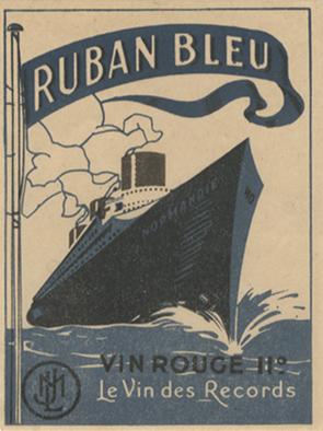 Paquebot Normandie - Etiquette bouteille de vin RUBAN BLEU